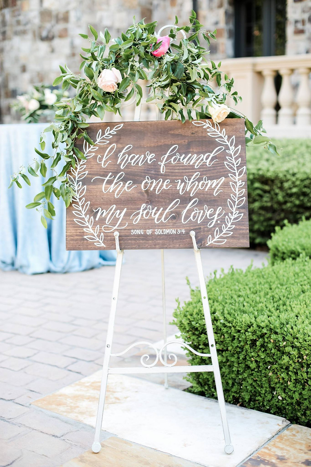 wedding flowers sign calligraphy