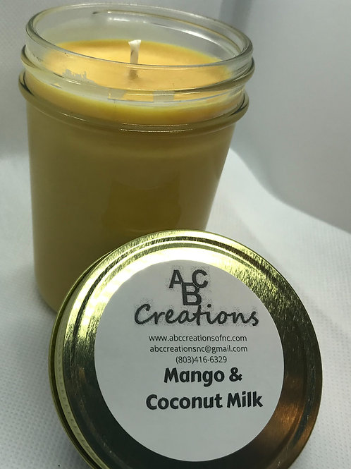 Mango & Coconut Milk 8 oz. Soy Candle