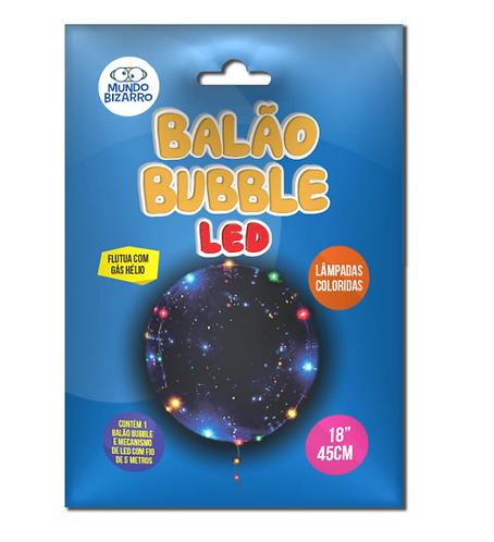 """BALÃO BUBBLE LED DOURADO E COLORIDO 18"""" 45CM"""