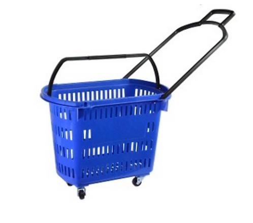 Cesto estilo carrinho de supermercado com rodinha *azul e verde