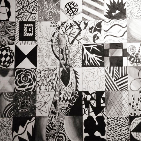 2D Desigh class Pierce College Instructor Lori Koefed. Pattern Boxes. Pen and ink, Graphite.