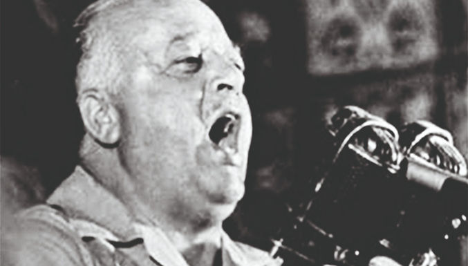 Proklamierte der damalige  UN-Botschafter der Arabischen  Liga und spätere Vorsitzende der PLO, Ahmed Schukeiri, 1956 vor der UN.