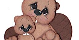 #635 Mama and Baby Beaver