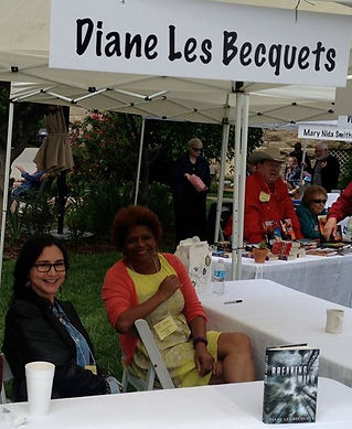 Diane Les Becquets and Sanderia Faye, WCDH alums, at Books in Bloom 2016