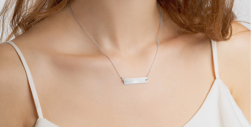 Womens Engraved Silver Bar Chain and Necklace Set