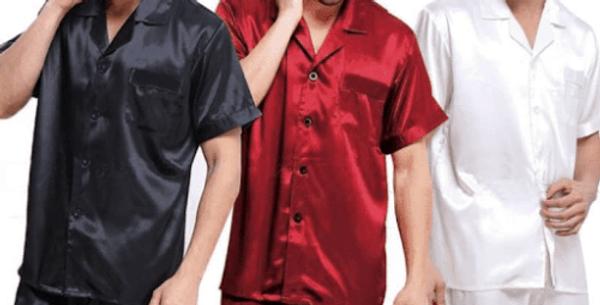 Mens Short Sleeve Sleepwear Loungewear Silk Satin Pyjama Set
