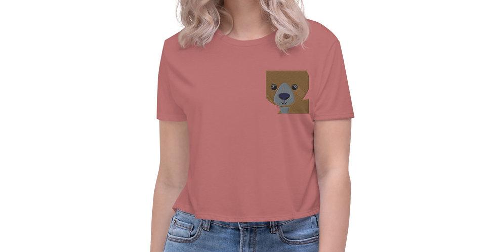 Teddy Bear Fake Pocket Crop Tee