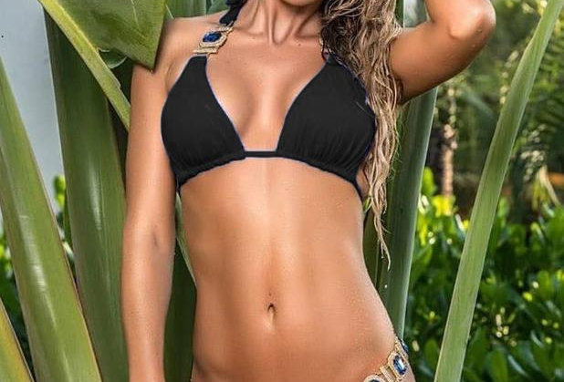 Tina Halter Top & Skimpy Bottom - Black