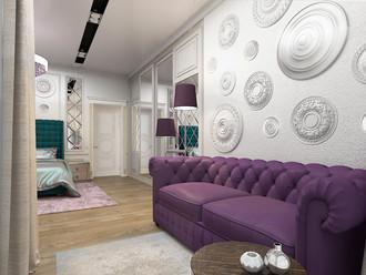 диванная зона в спальне