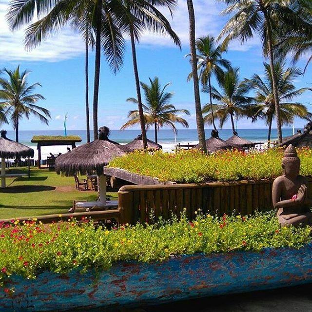 Buda, canoa, flores, mar e ceu azul