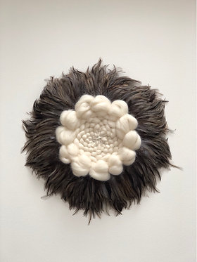 Lew (Lion) Feather wall hanging (speckled grey) READY TO SHIP