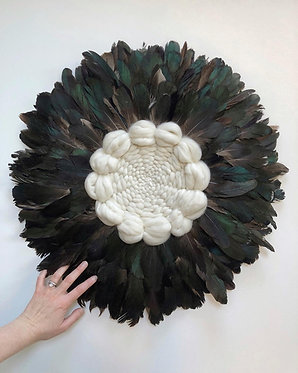 Lew (Lion) Feather wall hanging (Goose) brown petrol MADE TO ORDER
