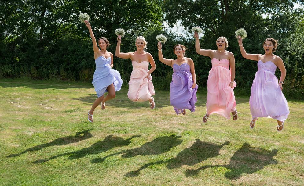 jumping dridesmaids