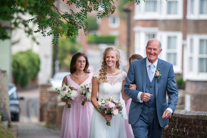 Bride and Father walk to church