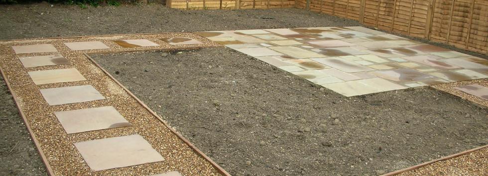Raj Sandstone Paving, 10mm Shingle, Soil Mix & Fence Panels