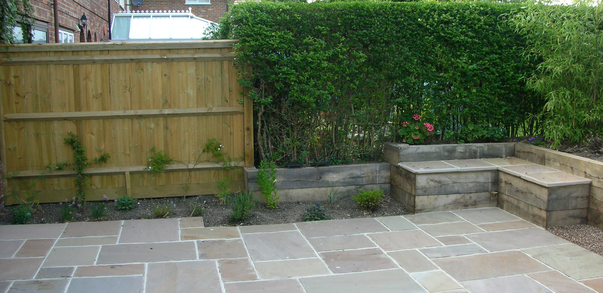 Raj Indian Sandstone Paving, Oak Sleepers