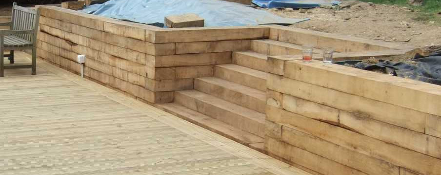 Oak Sleepers -Retaining Wall
