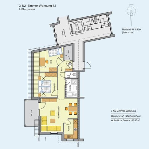 3 1/2 Zimmer Wohnung 68,47 m²