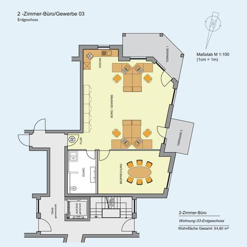 2 Zimmer Büro Gewerbe 94,80 m²