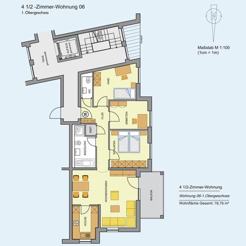 4 1/2 Zimmer Wohnung 78,78 m²