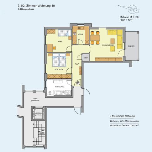 3 1/2 Zimmer Wohnung 79,41 m²