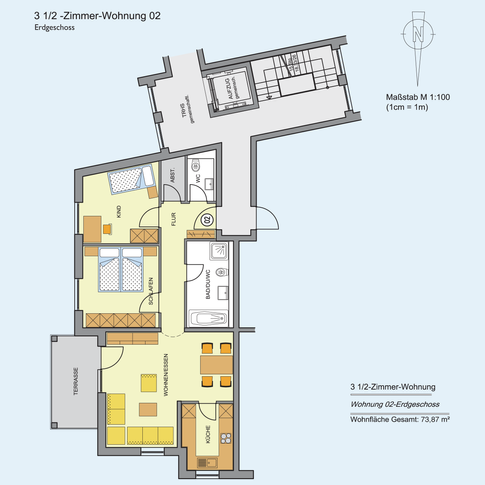 3 1/2 Zimmer Wohnung 73,87 m²
