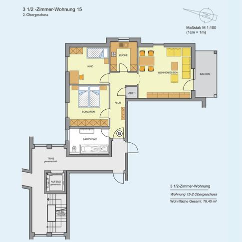 3 1/2 Zimmer Wohnung 79,40 m²
