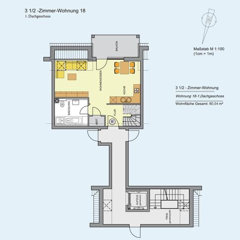 3 1/2 Zimmer Wohnung (1) 80,54 m²