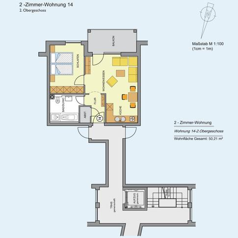 2 Zimmer Wohnung 50,21 m²