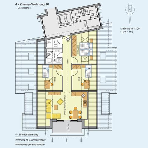 4 Zimmer Wohnung 80 m²