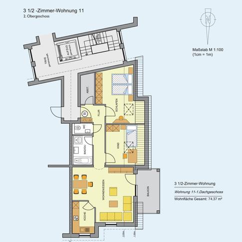 3 1/2 Zimmer Wohnung 74,37 m²