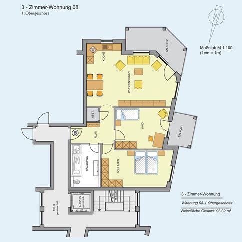 3 Zimmer Wohnung 93,32 m²