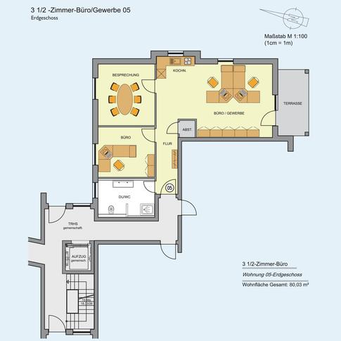 3 1/2 Zimmer Wohnung 50,53 m²