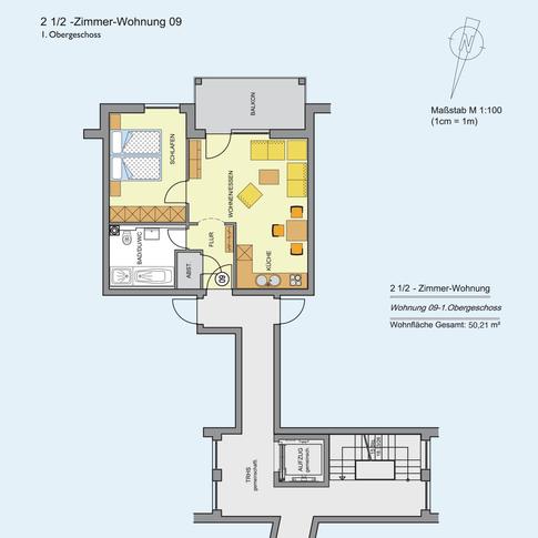 2 1/2 Zimmer Wohnung 50,21 m²