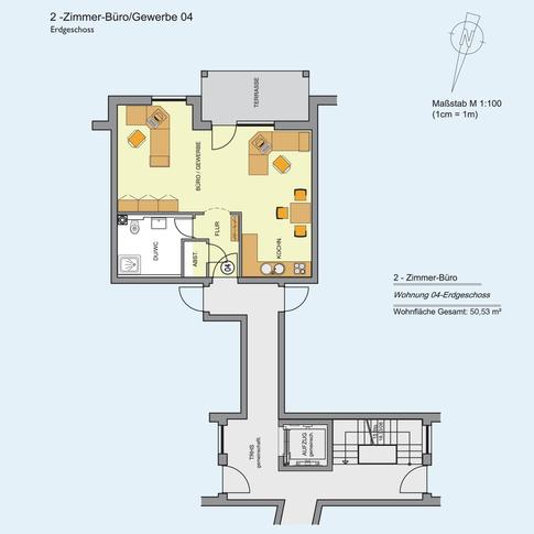 2 Zimmer Wohnung 50,53 m²