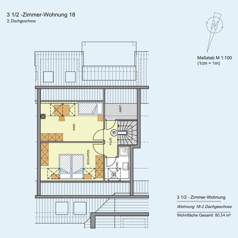 3 1/2 Zimmer Wohnung (2) 80,54 m²