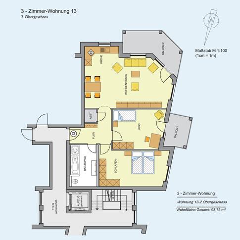 3 Zimmer Wohnung 93,75 m²