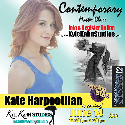Kate Harpootlian Contemporary Master Class June 14 12:30-2:30pm