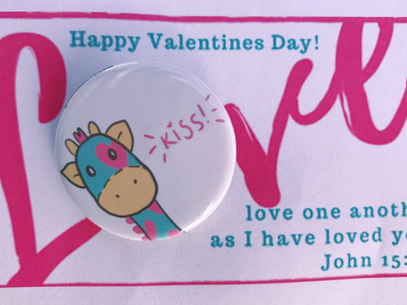 Valentines Day Card and Button $2.00 each