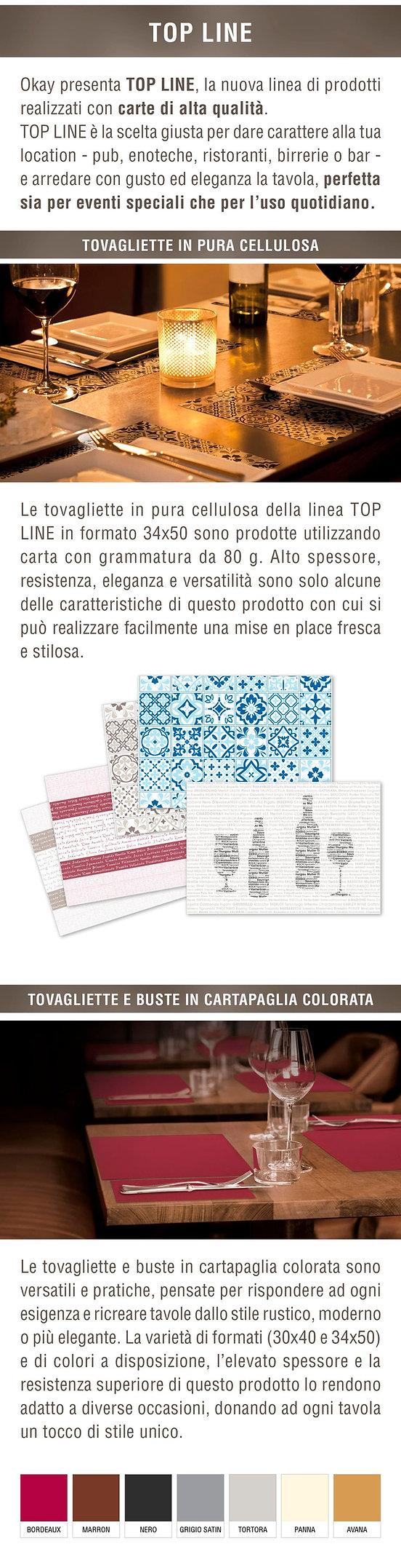 Newsletter TOP LINE - tovagliette e busta portaposate realizzate con carta di alta qualità