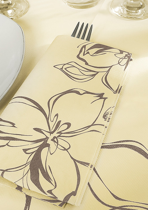 Set coordinato in Airlaid - Flowers panna