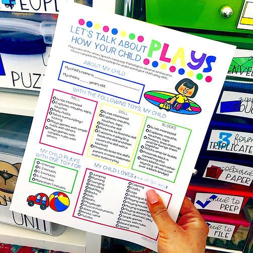 Play assessment for preschool speech the