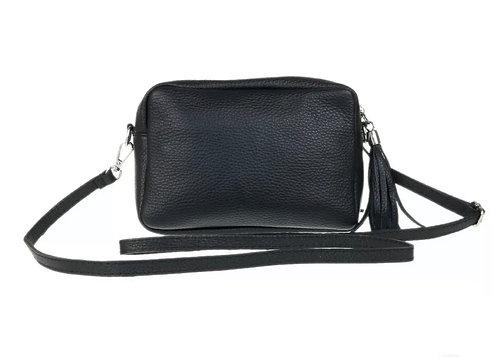 Italian Leather Cross Body Box Tassel Bag