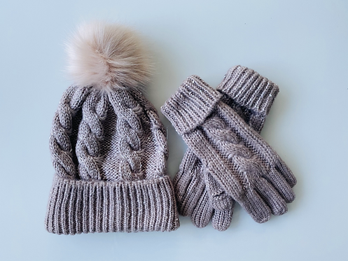 Cable Knit Pompom Hat & Glove Set