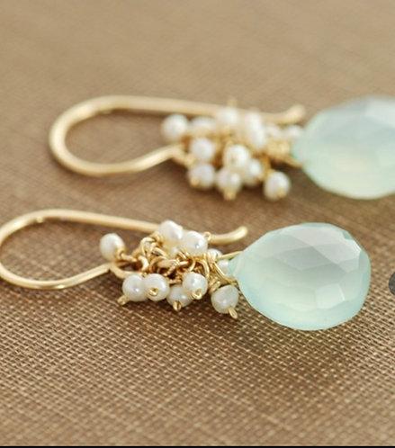 Aqua Chalcedony & Fresh Water Pearl Earrings