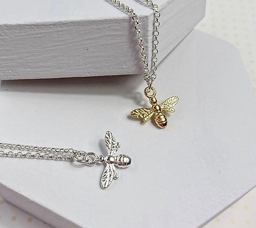 Stirling Silver Bumble Bee Necklace