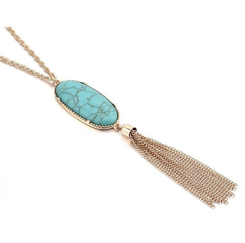 Cabochon Tassel Long Necklace