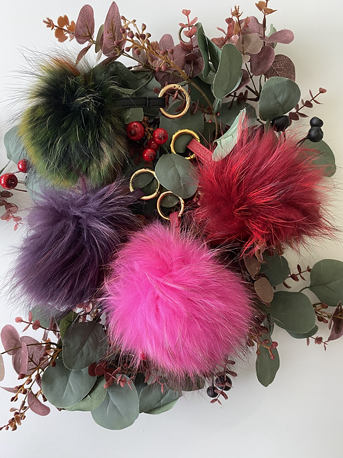 Pom Pom Keyrings - Real Fur