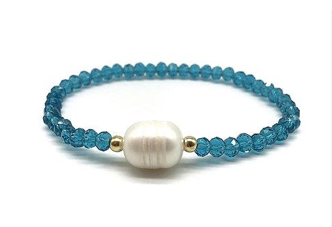 Crystal Beads & Freshwater Pearl Bracelet