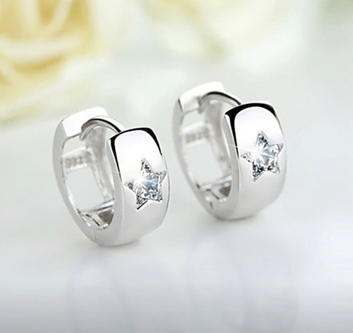 Silver Huggie Star Earrings